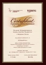 Certyfikat Partnera Honorowego Polskiego Stowarzyszenia Konsultantów Ślubnych na rok 2017